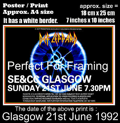 Def Leppard live concert at Glasgow SE&CC 21st of June 1992 A4 size poster print
