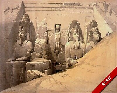 Ancient Egyptian Ruins Temple Of Aboo Entrance Painting Art Real Canvas Print
