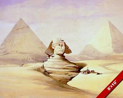 Great Sphinx Pyramids Giza Egypt Ancient Egyptian Painting Art Real Canvas Print