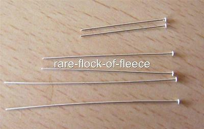 """2 New Solid Sterling Silver Head Pins For Jewellery Making 2"""" Long 925 S2"""