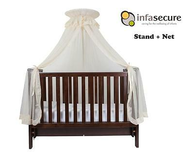 Br New Infa Secure Baby Cot Halo Net And Stand for Infant Bed Cradle Crib Cream