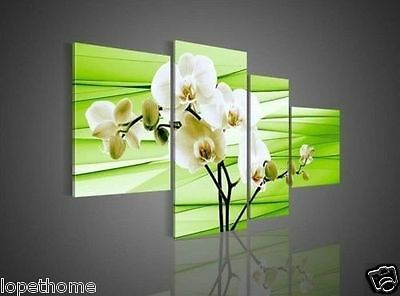 4p green canvas flower decorative oil paintings wall art living room (no framed)