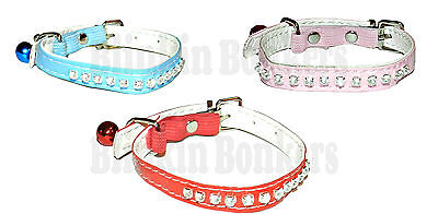 Diamante Pet Cat Kitten Pu Leather Collar Safety Elastic Matching Bling Bell 1D