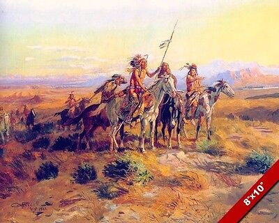 Native American Indian Scouts On Horseback West Painting Art Real Canvas Print