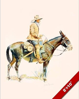 Western Scout Trapper On Mule Frederic Remington Painting Art Real Canvas Print