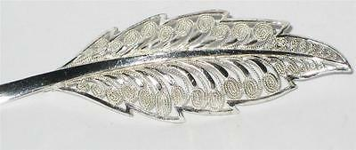 VINTAGE STUNNING STERLING SILVER FILIGREE LEAF PIN BROOCH JEWELLERY FOREIGN 925