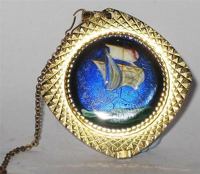 Stunning Vintage Ladies Buler Enamel Necklace Pendant Ship Watch Jewellery