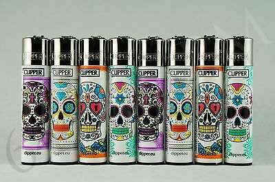 8 pcs New Refillable Clipper Full Size Lighters Sculls Collection