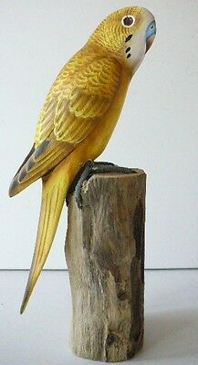 """7.5""""  YELLOW PARAKEET BUDGIE  PERCHED ON LOG , HANDMADE ,WOOD ,SIGNED"""