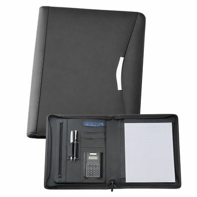 1 x A4 Bonded Leather Zippered Compendium, Bonus Black Metal Pen, fast del
