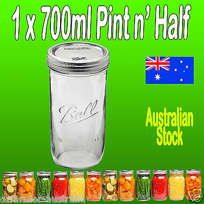 1 x SINGLE Ball Mason  700ml Pint and a Half Wide Mouth Preserving Jar and Lid
