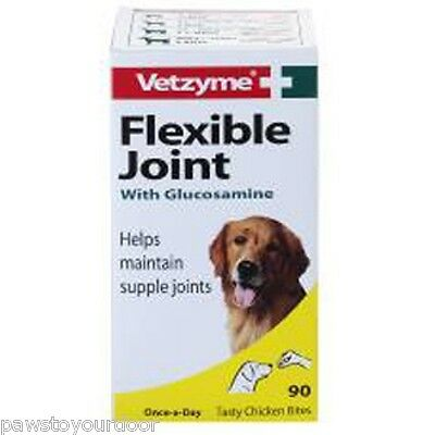 Vetzyme flexible joint 90 tablet dog dogs supplement glucosamine chicken bites