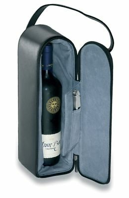 New 1 x Brand New Single Bottle Wine Carrier made from Split Leather fast delive