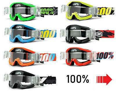 2017 KIDS 100% PERCENT STRATA MOTOCROSS GOGGLES with GSO ROLL OFFS mx childrens