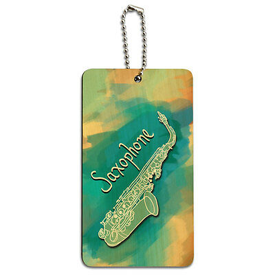 Saxophone - Musical Instrument Music Woodwind Wood ID Tag Luggage Card Suitcase