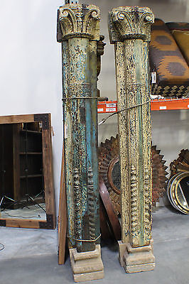 "94"" Tall Antique Wooden Pillar Set of two Concrete Base"