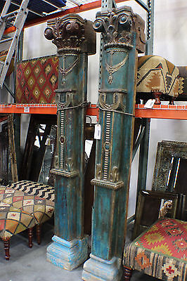"92"" Tall Wooden Pillar Set Antique turquoise Spectacular Carvings SPECIAL DEAL"