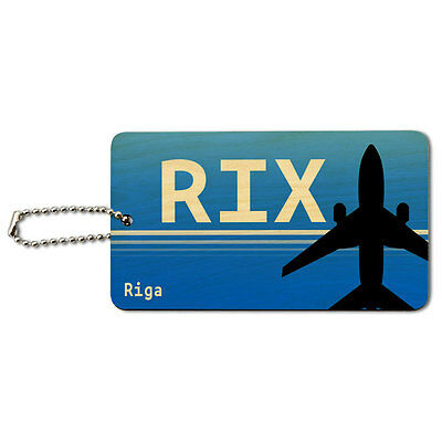 Riga Latvia (RIX) Airport Code Wood ID Tag Luggage Card Suitcase Carry-On