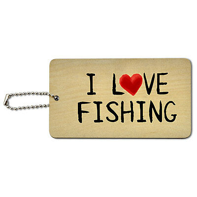 I Love Fishing Written on Paper Wood ID Tag Luggage Card Suitcase Carry-On