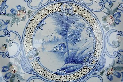French Antique St Clement Hand Painted Lacustrian Landscape Majolica Plate