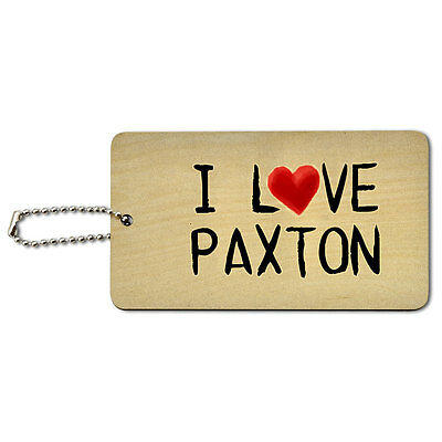 I Love Paxton Written on Paper Wood ID Tag Luggage Card Suitcase Carry-On