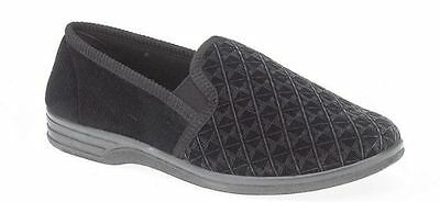 NEW MENS BLACK CHEQUERED OUTDOOR TWIN GUSSET HOUSE COMFY SLIPPERS 6-14UK