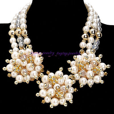 Fashion Charm Jewelry White Faux Pearl Flower Crystal Statement Choker Necklace