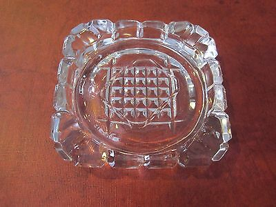 Vintage Small Clear Etched Cut Glass Ashtray Square
