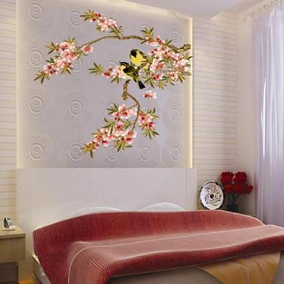Birds on Flower Branch Mural Removable Wall Sticker Vinyl Decal Home decor Art
