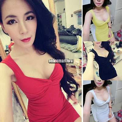 Sexy Women Cut Out V-neck Bandage Bodycon Mini Short Dress Party Clubwear ONMF