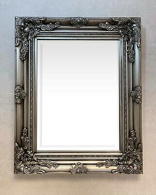 """BEST-SELLING SMALL ANTIQUE SILVER ORNATE WALL MIRROR Size 21"""" x 17"""" (52 x 42cm)"""