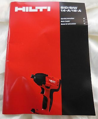 HILTI SID 14-A/SID 18-A SIW 14-A/ SIW 18-A Impact Driver Wrench INSTRUCTION BOOK