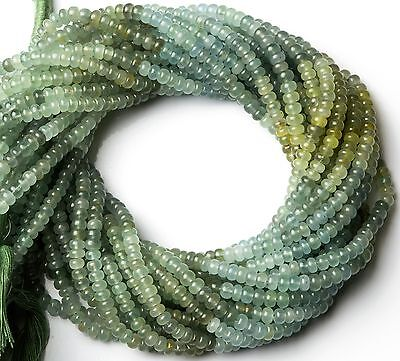 "Natural Gem Multicolor Moss Aquamarine Smooth 5MM Rondelle Beads 14"" Top Quality"