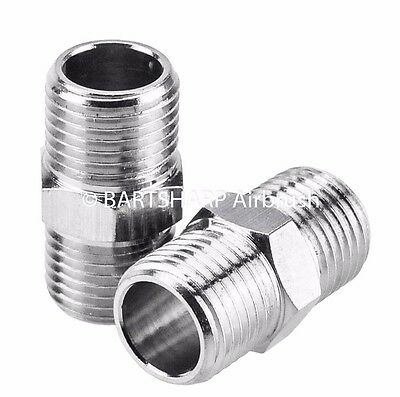 2 x Airbrush Air Hose Adaptor G1/4 BSP Male To G1/4 BSP Male Airbrush Connector