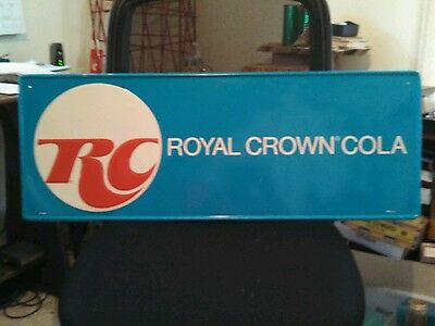 "1960s RC Royal Crown Cola Blue Metal Sign 32""x12"" MCI 141 nice condition"