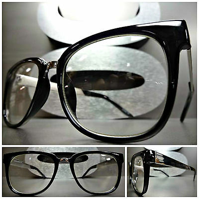 CLASSIC VINTAGE RETRO Style Clear Lens EYE GLASSES Black & Silver Fashion Frame
