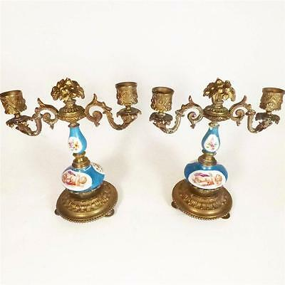 PAIR ANTIQUE FRENCH SEVRES PORCELAIN BRONZE CANDLE HOLDER STICK CANDELABRA