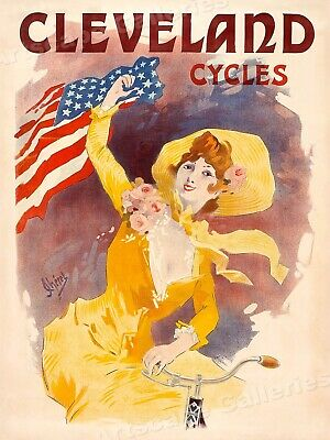 """Jules Cheret """"Cleveland Cycles"""" 1901 Vintage Bicycle Poster - 18x24"""