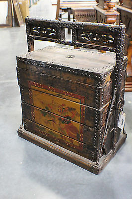 "39"" T Antique Wedding Trunk Hand Painted Asian Box SLC UT Furniture Sale Event"