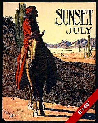 Sunset July Native American Indian Desert Poster Painting Art Real Canvas Print