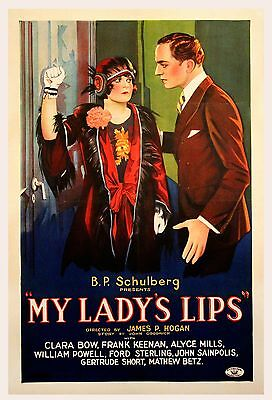MY LADY'S LIPS (1925) Extremely rare one sheet, early-Clara Bow BRIGHT colors NF