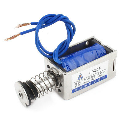DC 12V 400mA 10mm 45N Push Type Open Frame Actuator Solenoid Electromagnet