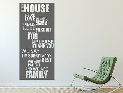 Wandtattoo Wandsticker Zitate Sprüche In this House we live and love Nr 1Flur