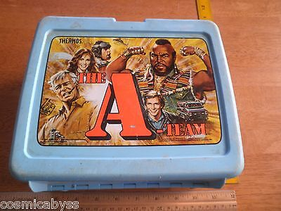 1983 The A-Team plastic lunchbox Mr.T Thermos co blue HTF