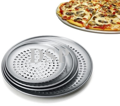 "5"" to 20"" Inch Perforated Thin Crust Aluminium Pizza Pan Heavy Duty Commercial"