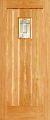 Oak Cottage External Exterior Door - Part Frosted Double Glazed Glass - Wooden