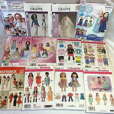 """NEW DOLL CLOTHES PATTERNS FOR 11 1/2"""" & 18"""" DOLLS & 15"""" 26"""" 36"""" RAGGEDY ANN DOLL"""