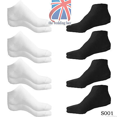 7 X Pairs Mens Women Trainer Liner Ankle Socks Size 5-7 6-9 White & Black S001