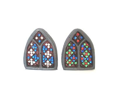 Stained Glass Effect Windows For Fairy Gardens - Choice Of 2 Colours - New