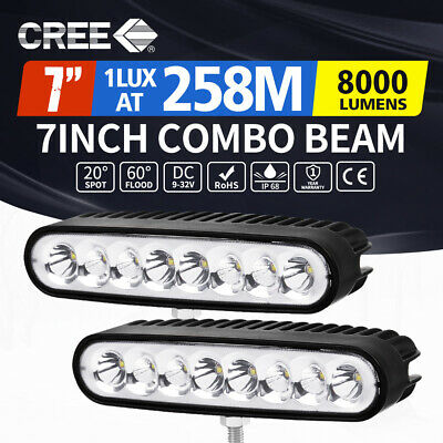 2x 7inch CREE LED Light Bar Spot Flood Work Driving Lamp Offroad 4WD Reverse